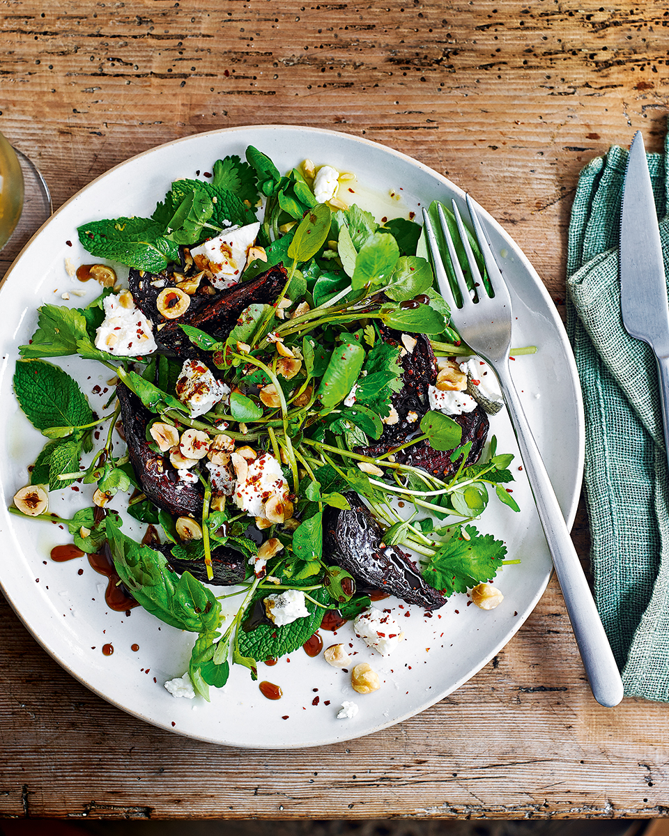 Roast beetroot, herbs, hazelnuts and pomegranate molasses