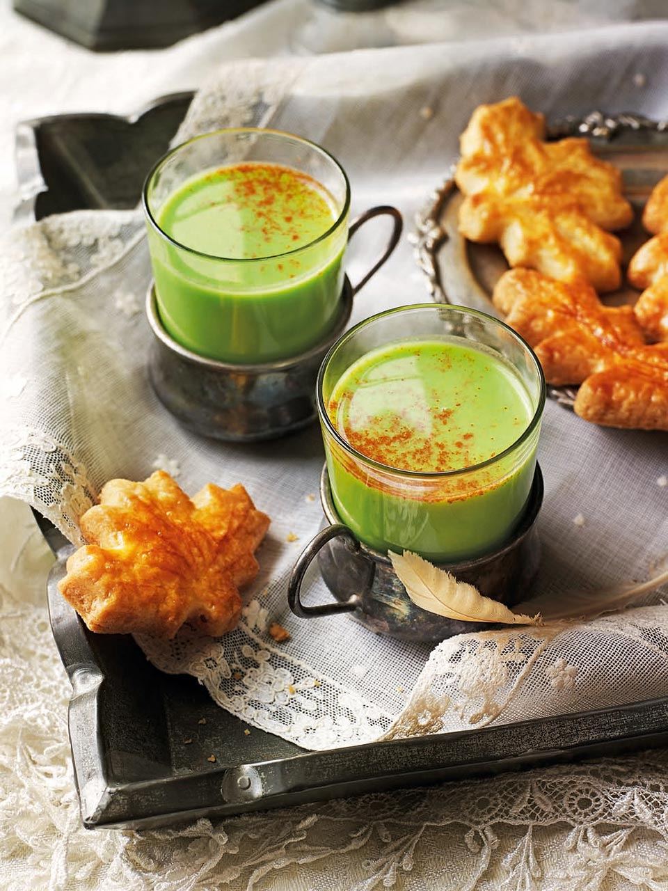 Spiced pea soup with cheddar sables
