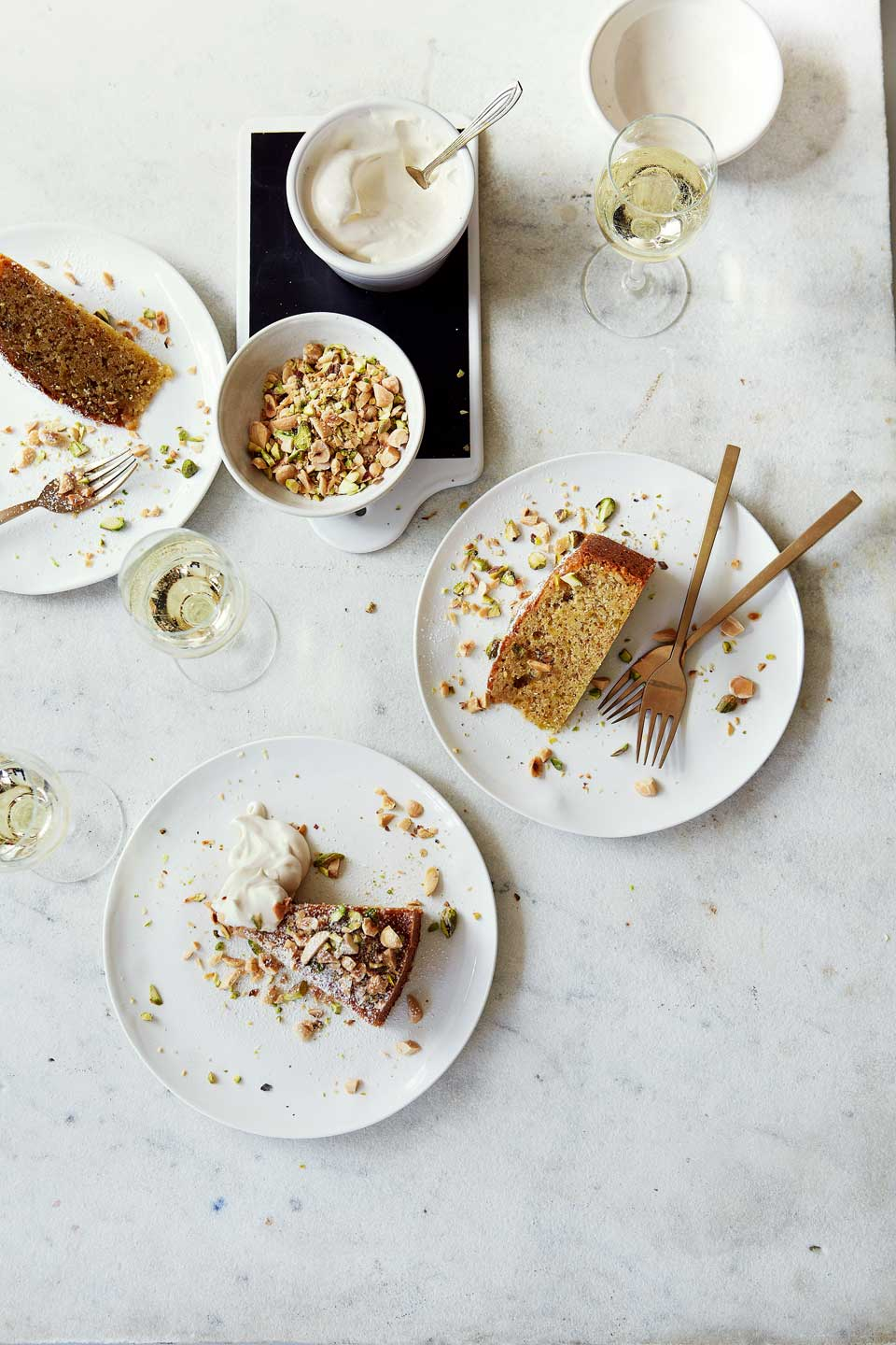 Toasted nut cake with sweet wine syllabub