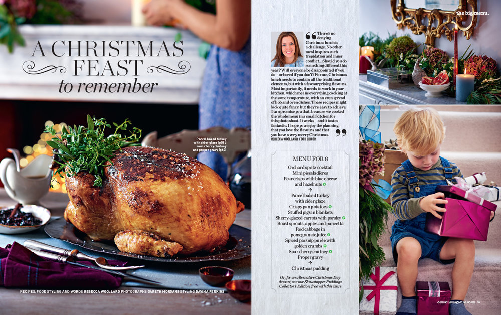 Christmas menus require extra planning - they must all be cooked in one oven, have viable time plans and have the right balance of familiar and new. For this feature I also styled the flowers.
