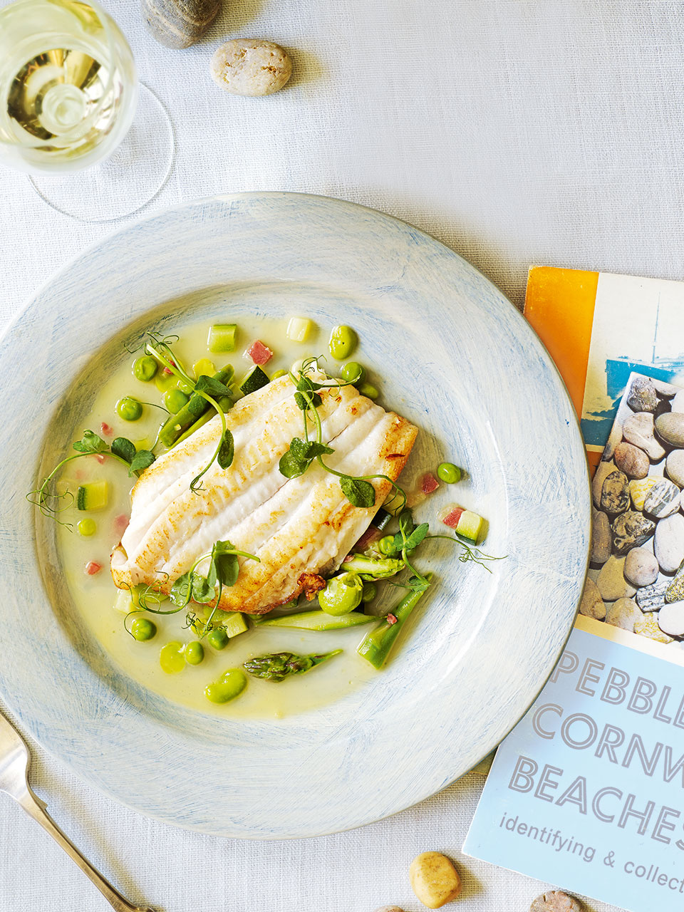 Lemon sole with spring vegetables