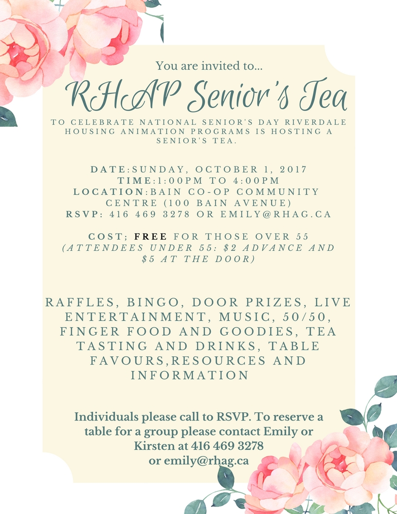 Senior Tea Bain Coop Flyer