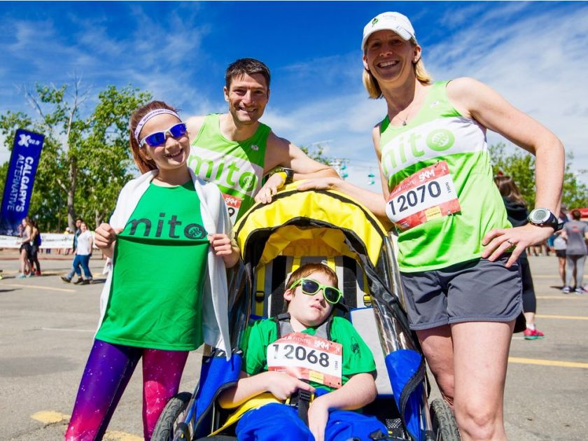 Blaine, Evan, mom Sarah and sister Julia all representing at the 2017 Calgary Marathon