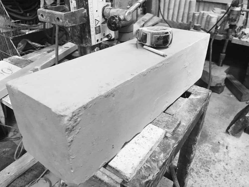A raw block ready for marking up and core drilling