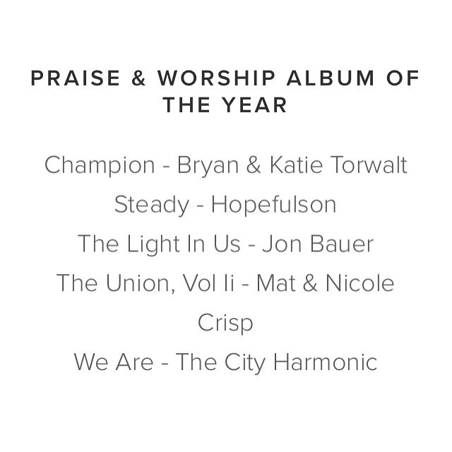 "Excited to say our Album ""Steady"" got nominated for worship album of the year for the Canadian Gospel Music Awards alongside some amazing artists !  @bryantorwalt @katietorwalt @thecityharmonic #jonbauer #mattandnicolecrisp #checkitoutonspotifyoritunes"
