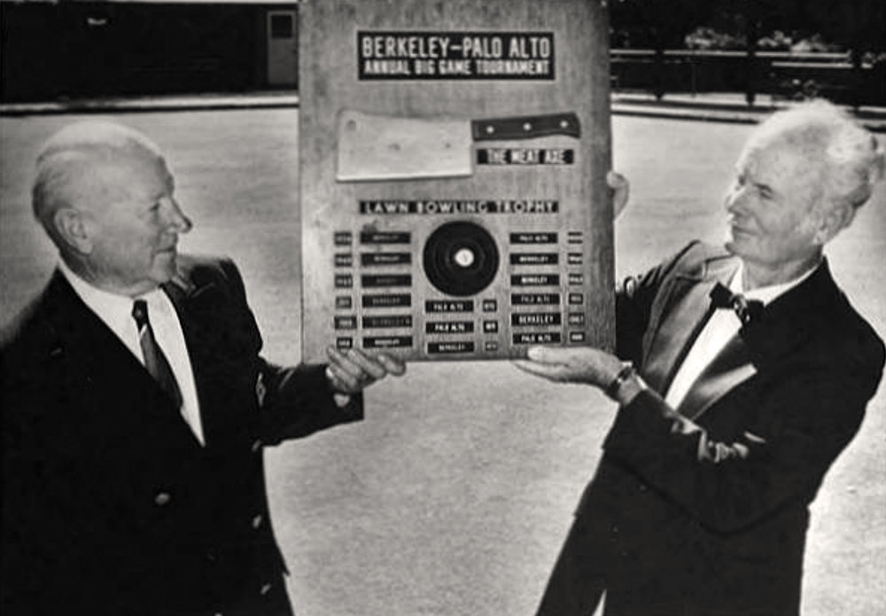 "Paul Houseman (left) and Floyd Carpenter display   the ""Meat Axe"" around 1978. PAHA photo."