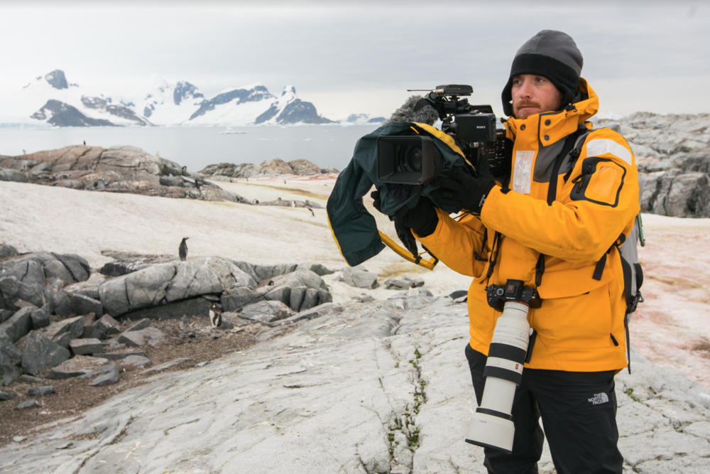 Fraser in Antarctica filming for Eco-Business and Channel News Asia. Photo: Trent Branson