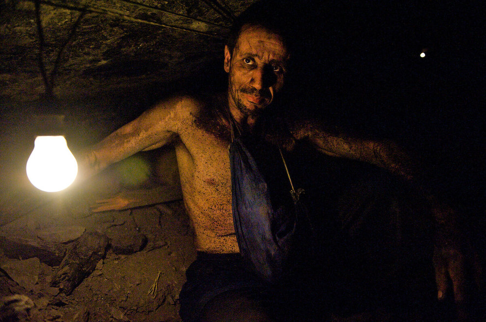 Photographing a coal miner in Colombia for  Bicycling Magazine