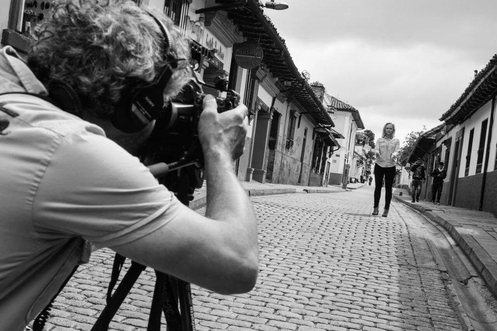 Australian filmmaker Brian Rapsey with journalist Stephanie Hunt in downtown Bogotá.