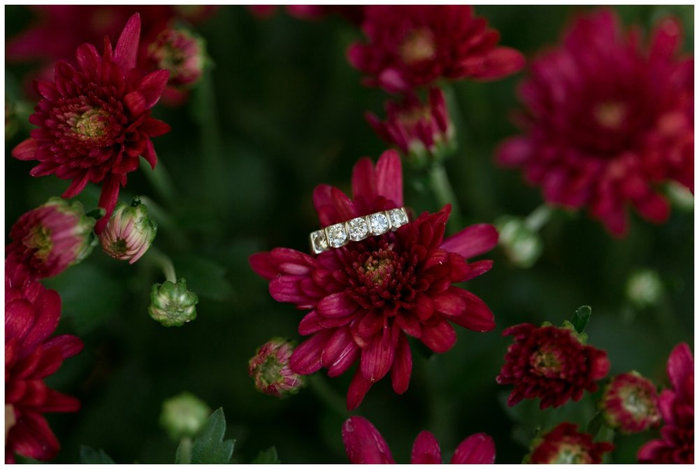 Woman's wedding band for a fall elopement in Virginia