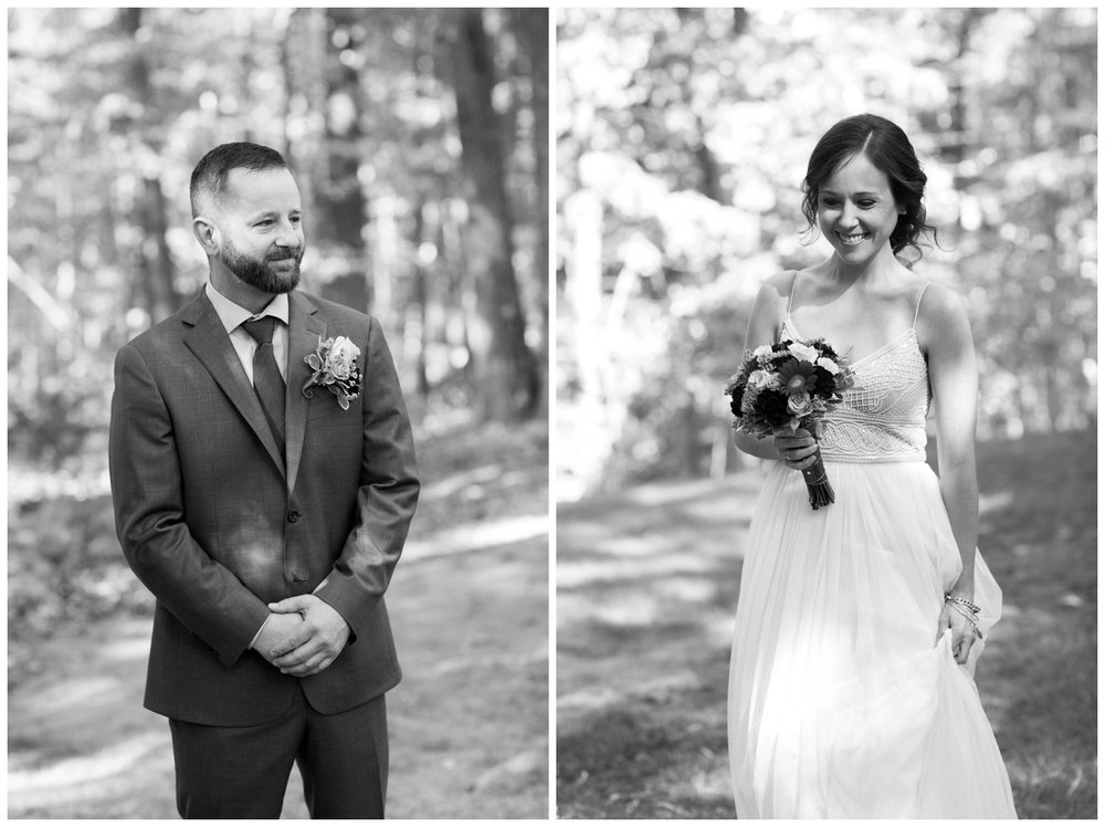 Black and white ceremony image from a fall elopement in Virginia