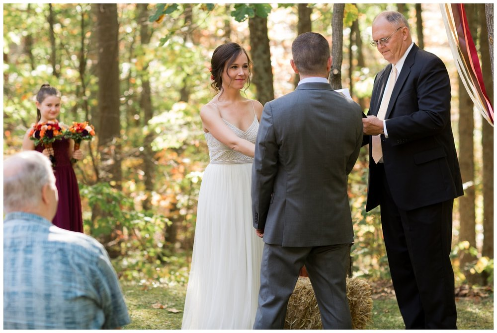 Ceremony image from  a fall elopement in Virginia