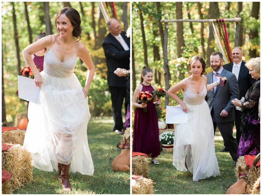 Bride and groom exiting from their ceremony during a fall elopement in Virginia