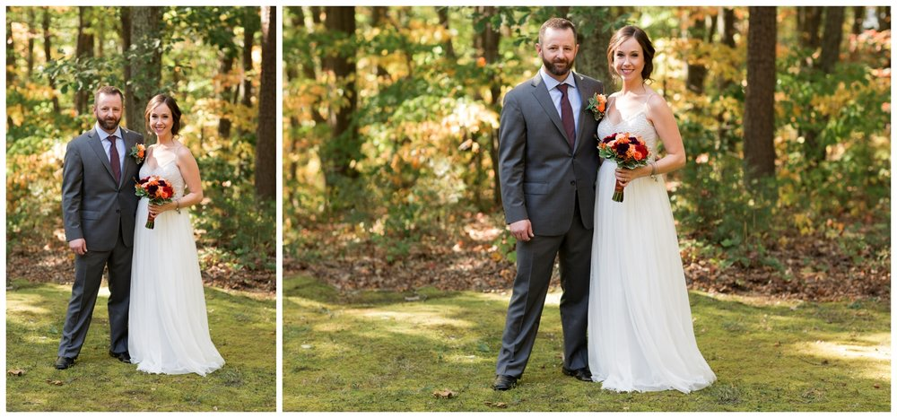 Bride and groom portraits after a fall elopement in Virginia