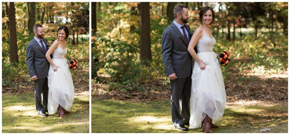 Bride and groom portrait during a fall elopement in Virginia