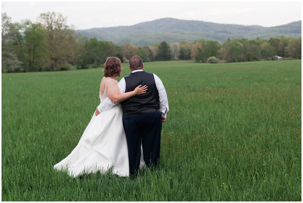 200-person Highland County Virginia mountaintop wedding in spring with large bridal party