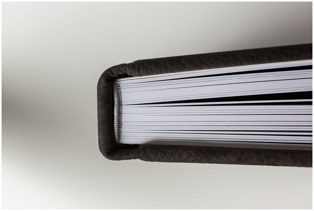 Leather-bound, blind-debossed, luxury Red Tree Flushmount Album in Chestnut brown