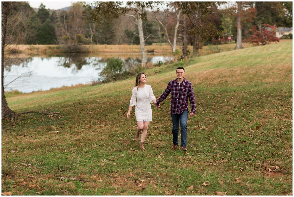 Fall engagement session at Wisdom Oak Winery near Charlottesville Virginia featuring reds, blues and a puppy!