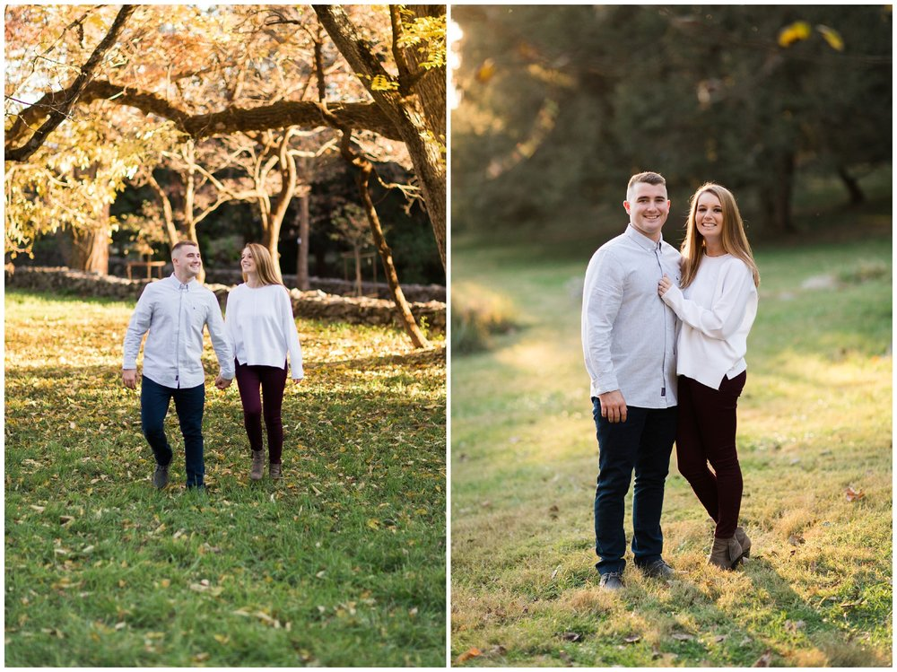 Fall engagement photo session at Blandy Experimental Farm in Winchester, Virginia featuring a military couple, gorgeous golden hour light and stunning fall colors!