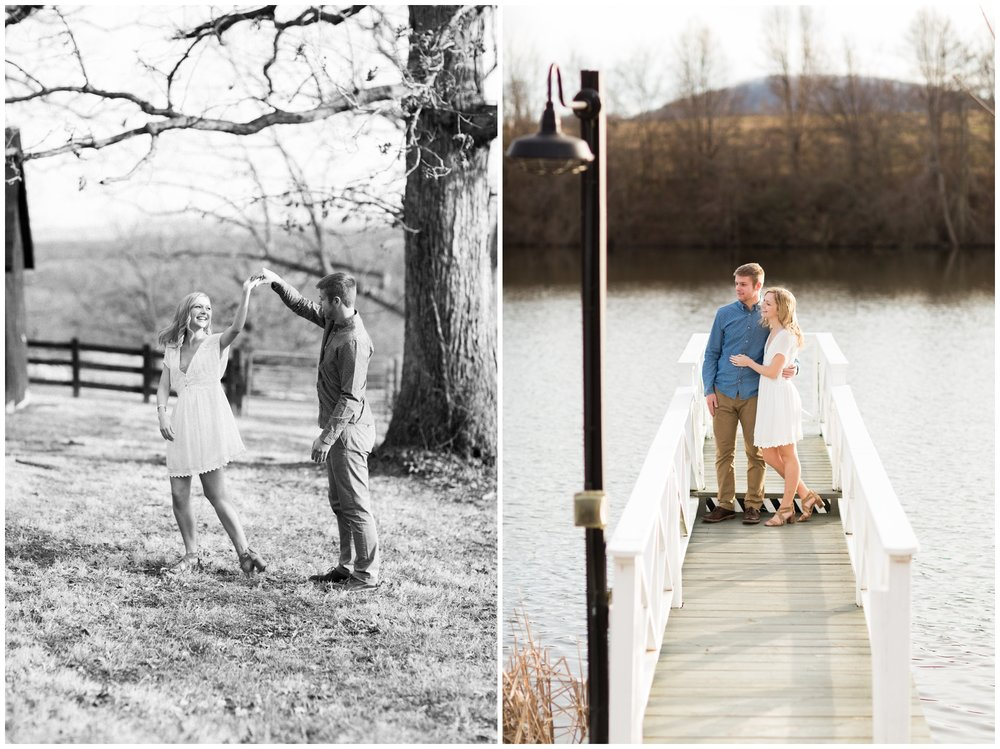 Winter engagement photo session at Gaie Lea wedding venue in Staunton, VA featuring mountain backdrops, golden hour light, a pond with a pier and cows!