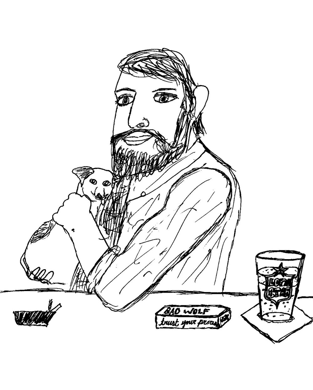 sketch of Jacob with a stranger's dog, by  Timothy Dailey-Valdés