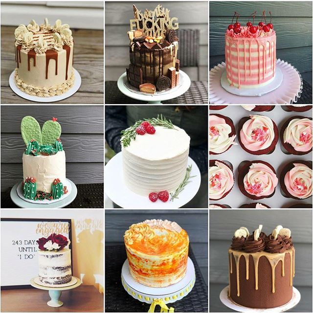 My #top9of2018! These are the #cakes y'all loved the most this year! 1) banana cake with brown sugar buttercream for my brother's birthday 2) chocolate peanut butter oreo cake for my BFF's 29th 3) maraschino cherry cake for the cakeoff at @fleetwoods496 4) cute cactus cake for @thedailyworley and @worleytones first wedding anniversary 5) vegan birthday cake for @hoo.plah 6) red velvet cupcakes for a vday giveaway 7) our chocolate engagement cake 8) a citrus stunner 9) a chocolate pb banana cake for @_alark_ !  I've had a great year caking and am very grateful to everyone who has supported me. I can see a lot of growth in these pictures and hope 2019 will bring even more.
