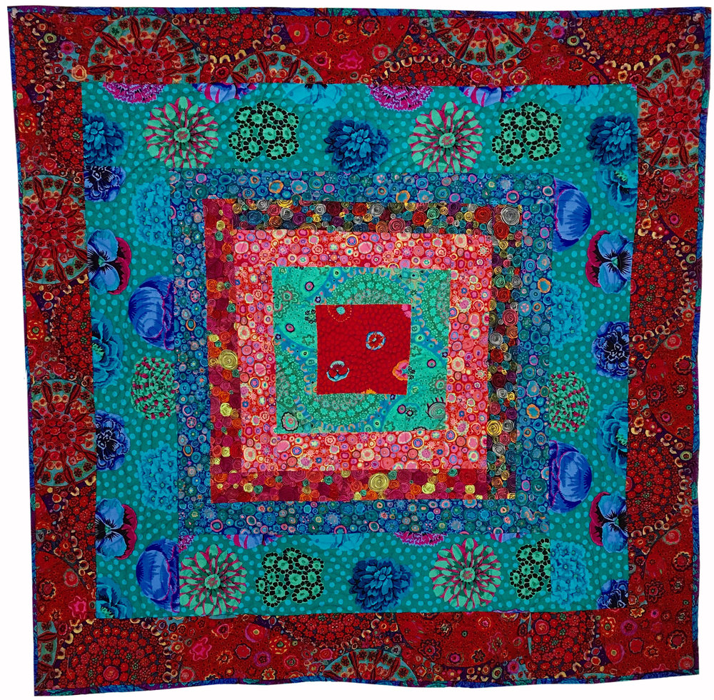 Quilt 2052 Rich Blue with Red