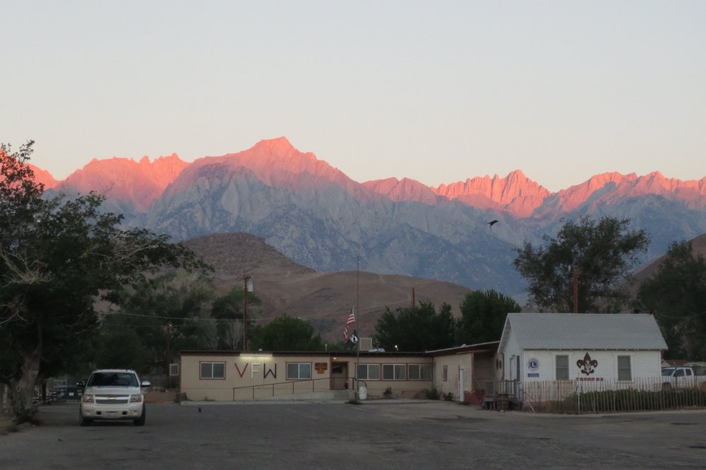The sunrise hits the top of Sequoia National Park's skyline in Lone Pine, California