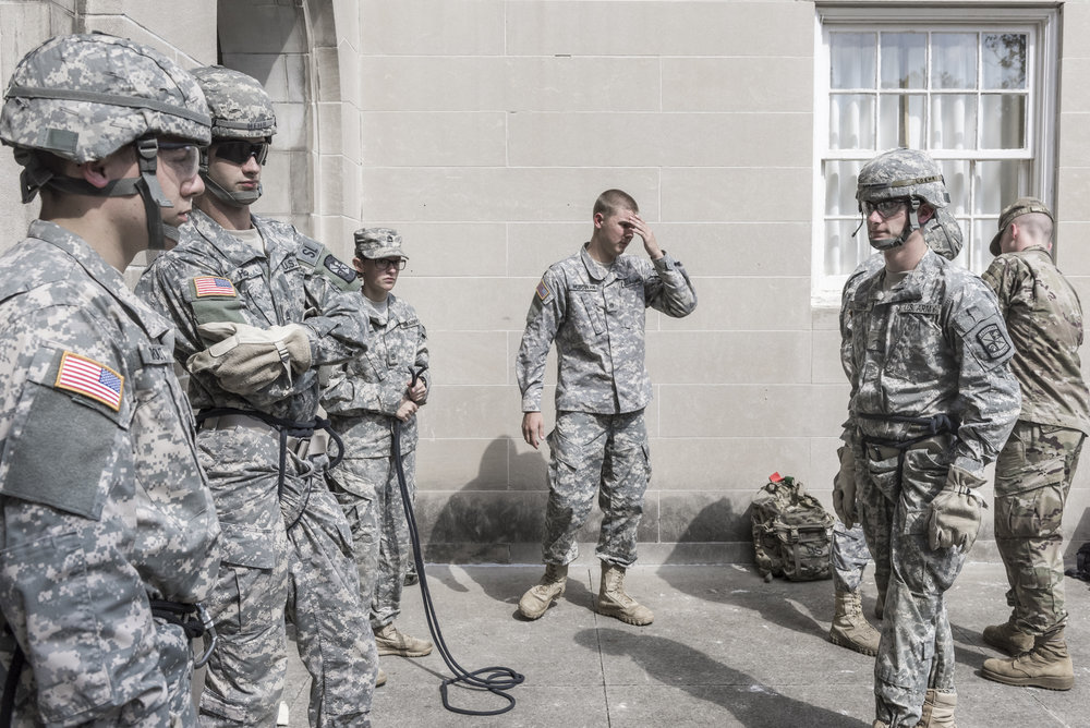 The Reserve Officers' Training Corps (ROTC) branch at Ohio University practices and teaches repelling safety outside Bentley Hall on Septmeber 20, 2017.