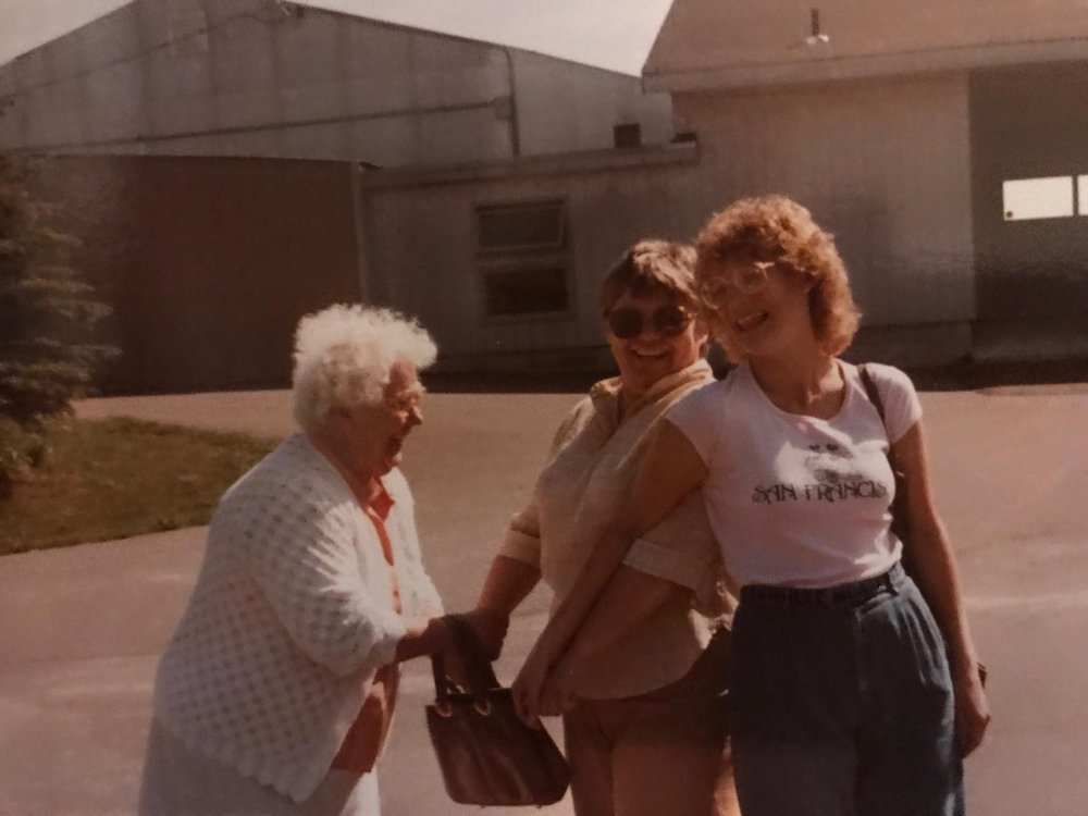 From L to R: Susan grandmother, her mother, Beverly, and Susan, Equestrian Mom