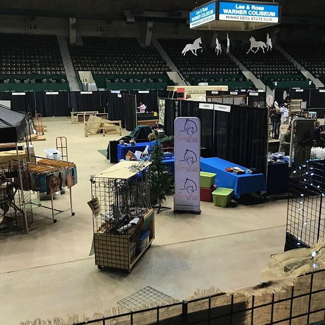 WE. ARE. HERE! Setup today at the 🐎🤪🛍 @horsecrazymarket went well, and we are ready for you tomorrow (from noon-8pm) & Saturday (10am-6pm)! So if you're near the Minnesota State Fair Coliseum this weekend, we would love to say hey! . #horsecrazymarket #horselover #minnesota #equestrianmoms #horsecrazy #horsefashion