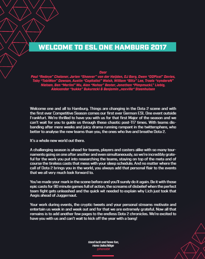 ESL One Hamburg 2017 welcome letter Talents.png