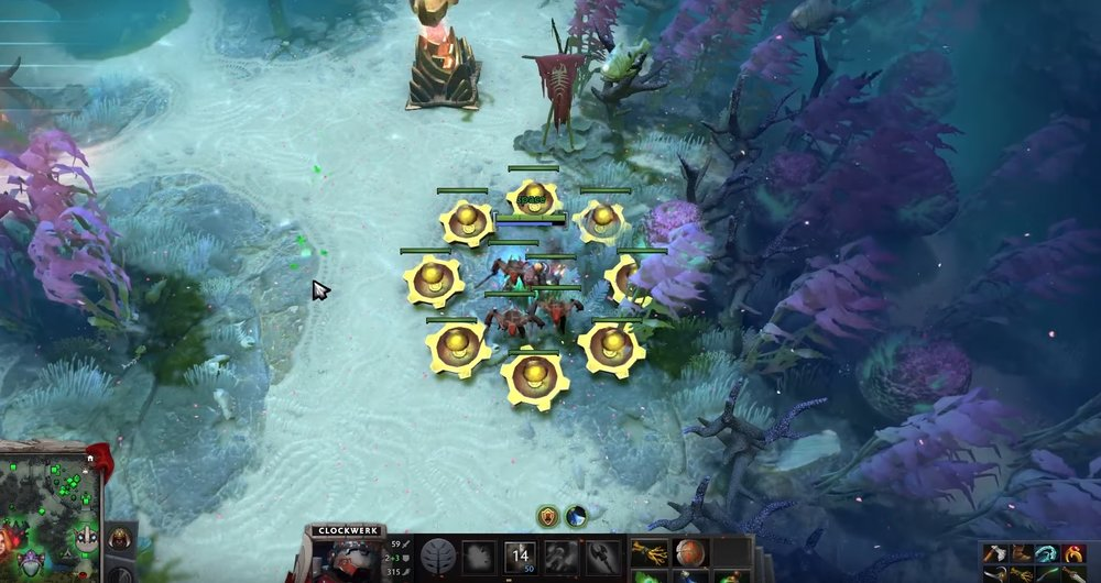 Clockwerk blocked the creep wave using power Cogs - Image by Dota 2 Pro