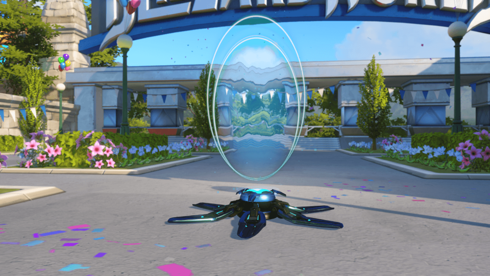 Symmetra Peacock teleporter Blizzard World Overwatch.png