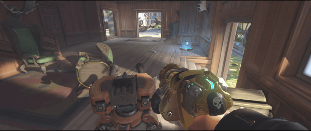 Torbjorn turret Eichenwalde safe from pharah first point.png