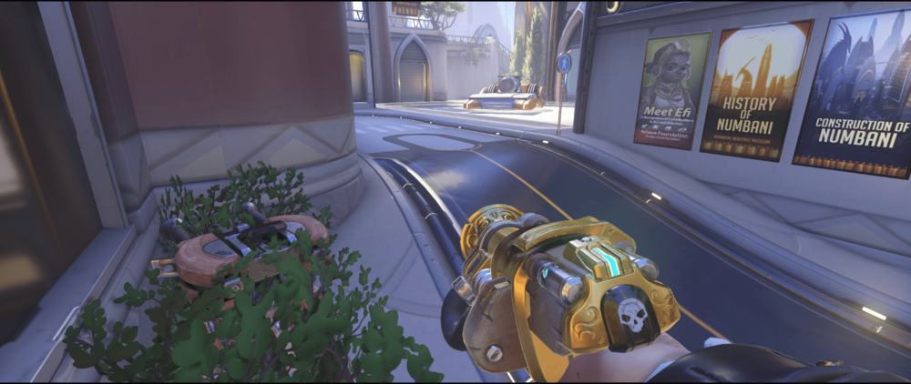 Torbjorn turret Numbani bushes first point.png
