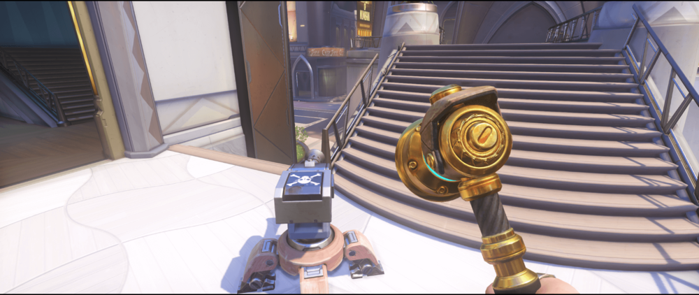 Torbjorn turret Numbani staircase first point.png