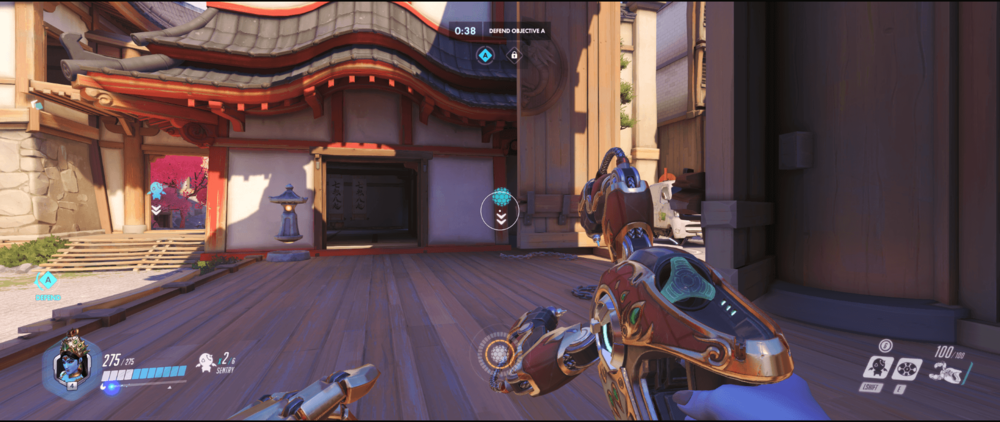 Symmetra Shield Generator spot Hanamura behind bridge range point one.png