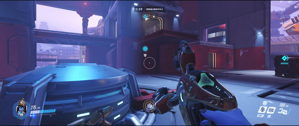 Symmetra shield generator spot Volskaya Industries yellow room range point two.png