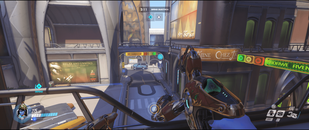 Symmetra shield generator spot Numbani secondary range first point.png