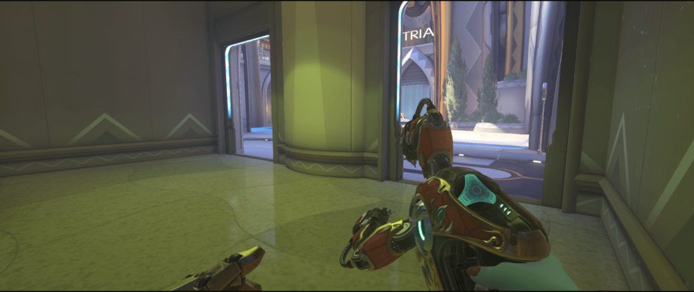 Symmetra shield generator spot Numbani room first point.png