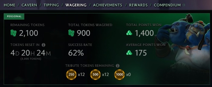 The Wagering tab. Green tokens reset weekly, while yellow ones can be used only a single time.