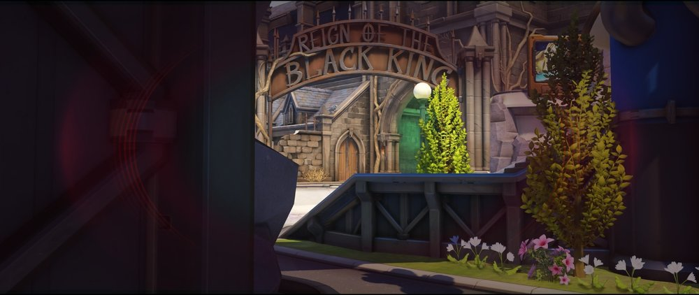 Left side ground level view to entrance second point attack sniping spot Widowmaker Blizzard World Overwatch.jpg