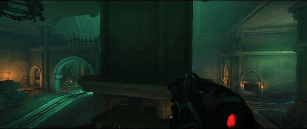 Second high ground left side attack sniping spot Widowmaker Blizzard World Overwatch.jpg