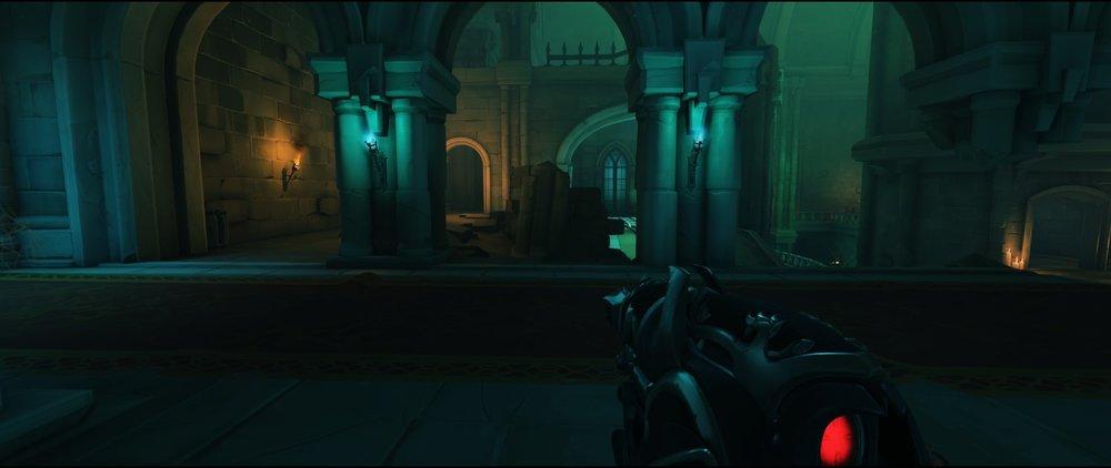 Corridor view left side attack sniping spot Widowmaker Blizzard World Overwatch.jpg