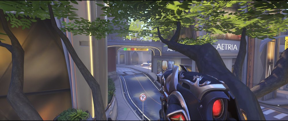 Tree defense on the point defense Widowmaker sniping spot Numbani Overwatch.jpg