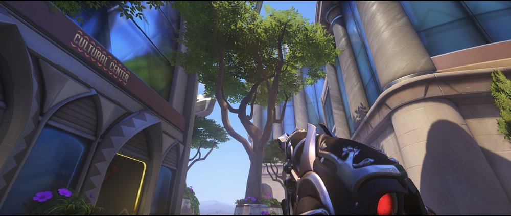 Trees view to choke second point defense Widowmaker sniping spot Numbani Overwatch.jpg