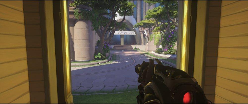 Attack ground level third point Widowmaker sniping spot Numbani Overwatch.jpg
