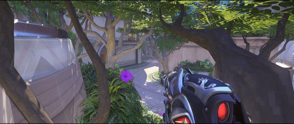 Mid third tree third point view defense Widowmaker sniping spot Numbani Overwatch.jpg