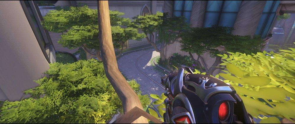 Final area tree third point defense Widowmaker sniping spot Numbani Overwatch.jpg